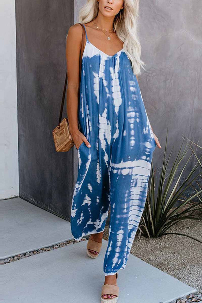Florcoo Loose Tie-dye Cute Jumpsuit
