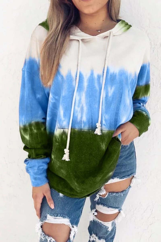Florcoo Hooded Collar Tie-Dye Print Hoodie (3 Colors)