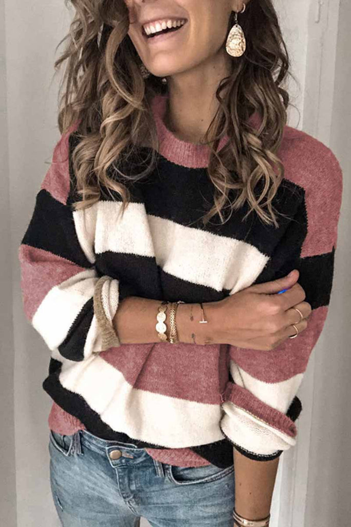Florcoo Striped O-Neck Contrast Sweater
