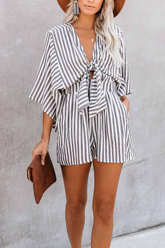 Florcoo Striped Short Sleeve Loose Jumpsuit