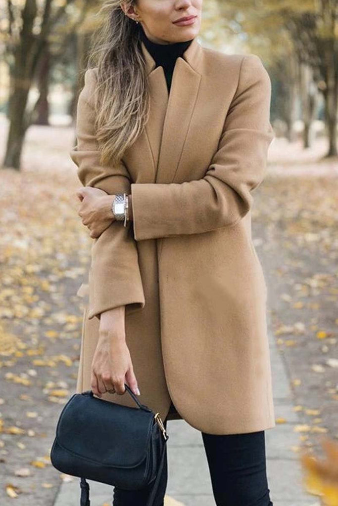 Florcoo Solid Color Elegant Khaki Coat