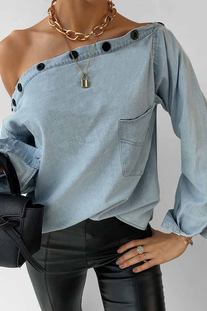 Florcoo Spring Button-Neck Off-Shoulder Long-Sleeved Denim Shirt