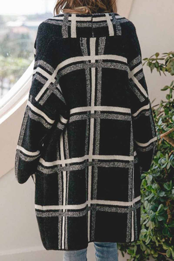 Florcoo Casual Knitted Plaid Coat
