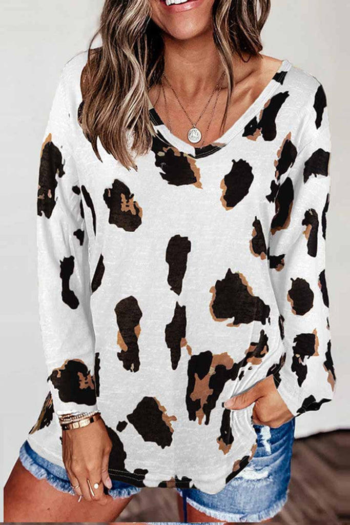Florcoo V-neck Leopard Print Loose Top