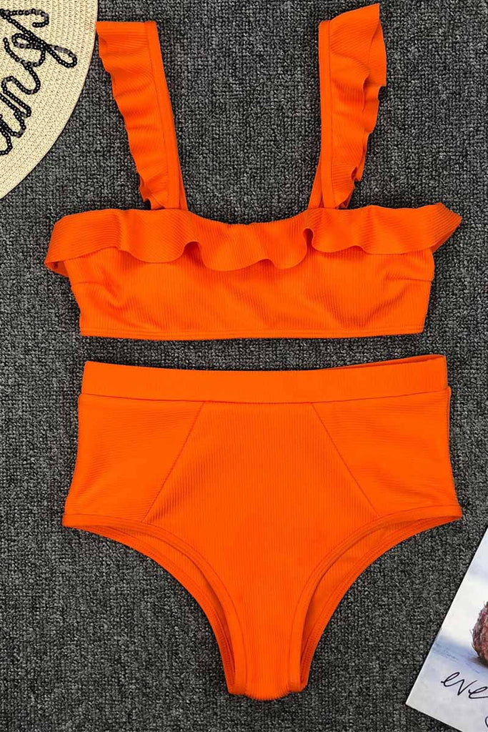 Florcoo High Waist Ruffled Bikini Set
