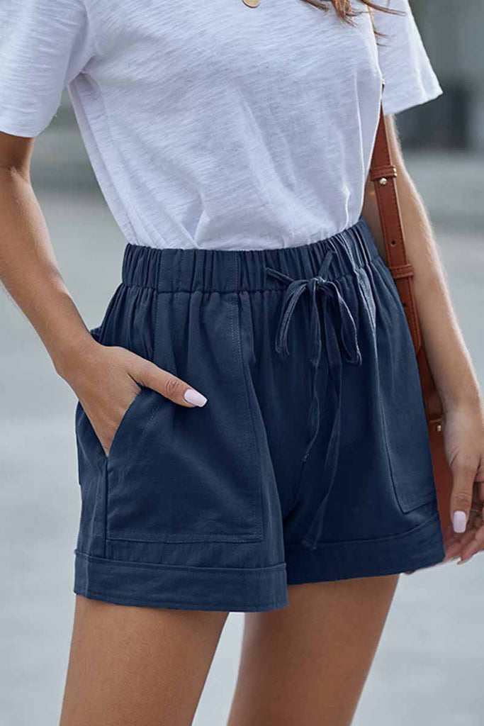 Florcoo Elastic High Waist Adjustable Shorts