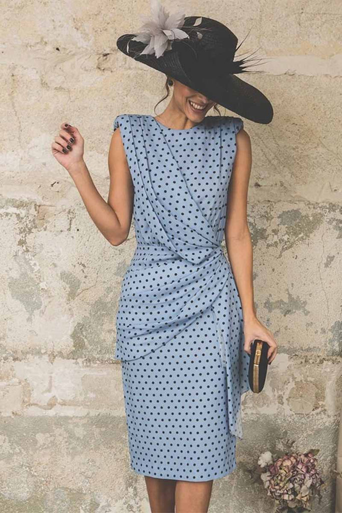 Florcoo Sexy Polka Dot Pack Hip Sleeveless Midi Dress