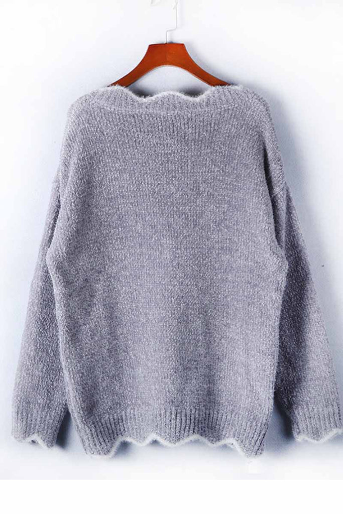 Florcoo Gray V-neck Cute Sweater