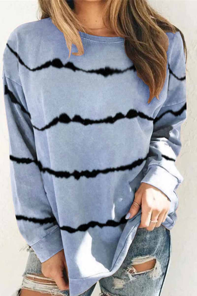 Florcoo Tie-dye Striped Print Top