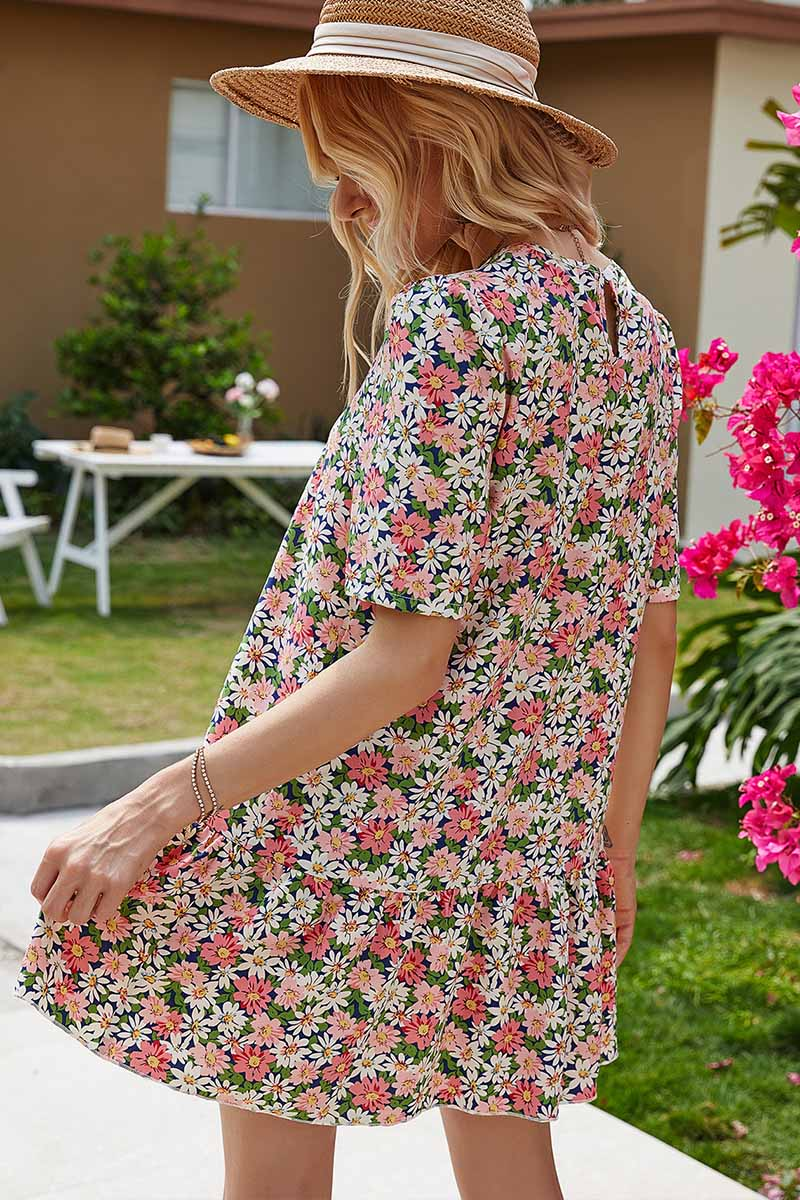 Florcoo Round Neck Ruffled Floral Dress
