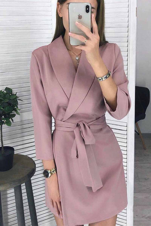 Florcoo Solid Color Long Sleeve Suit Collar Mini Dresses