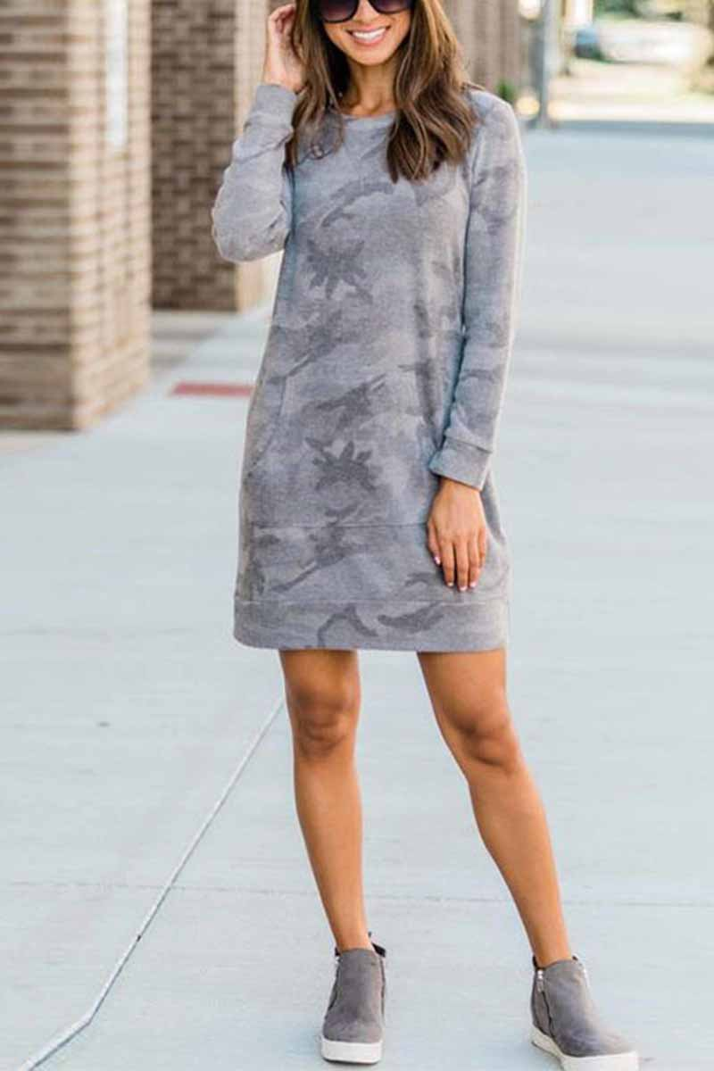 Florcoo Casual Loose Round Neck Camouflage Mini Dress