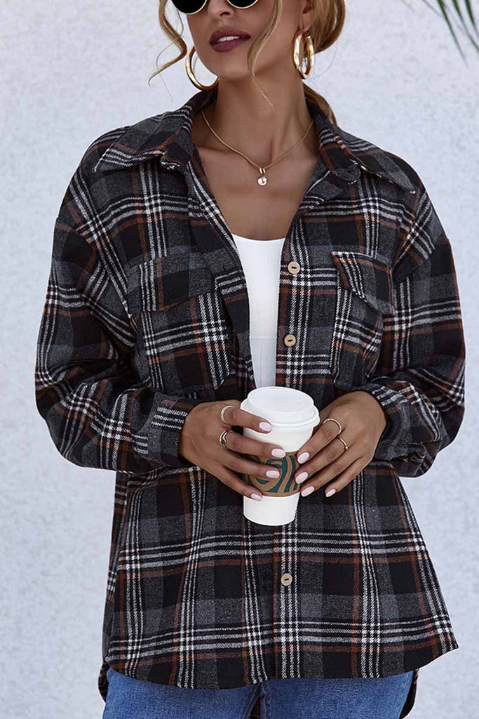 Florcoo Lapel Long Sleeve Single Breasted Plaid Tops