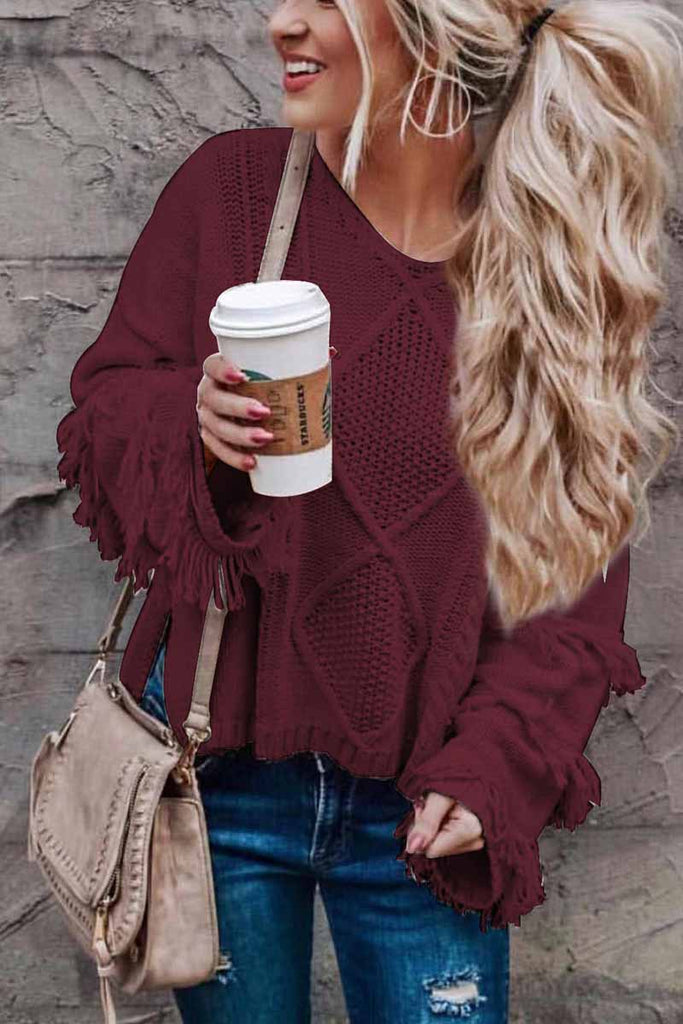 Florcoo Solid Color Knitted Tassel Sweater