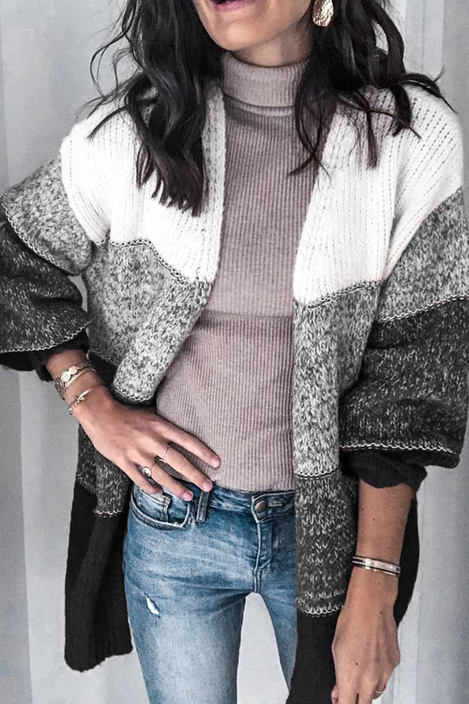 Florcoo Striped Contrast Knit Cardigan