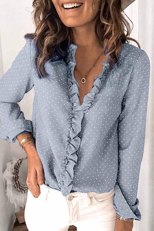 Florcoo V-neck Button Ruffle Blouse