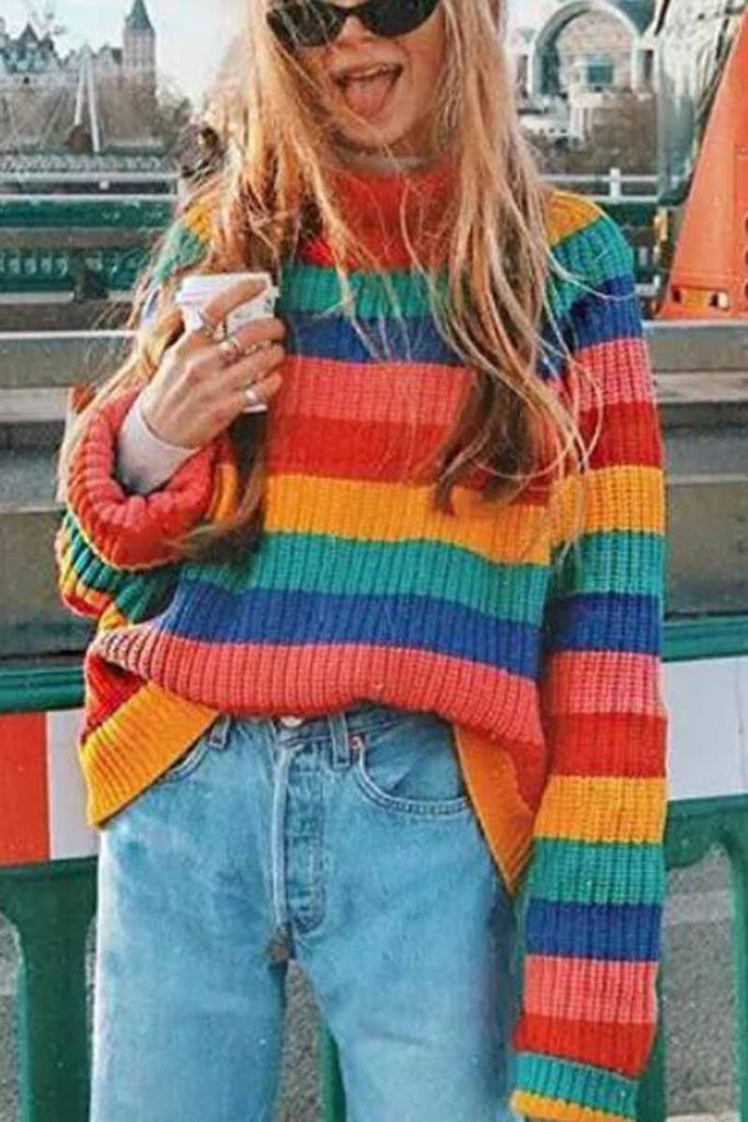 Florcoo Rainbow Striped Loose-knit Sweater
