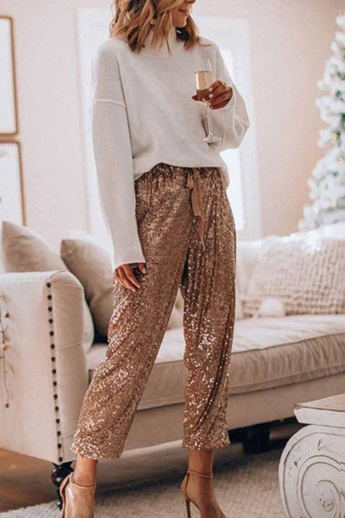 Florcoo Loose Ruffled Sequined Pants