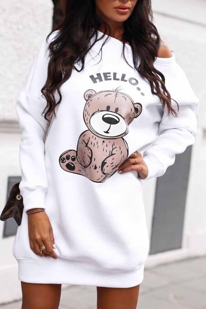 Florcoo Bear Print Long Sleeve Sweatshirt Dress