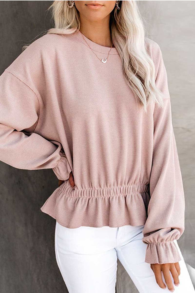 Florcoo Round Neck Long-Sleeved Top