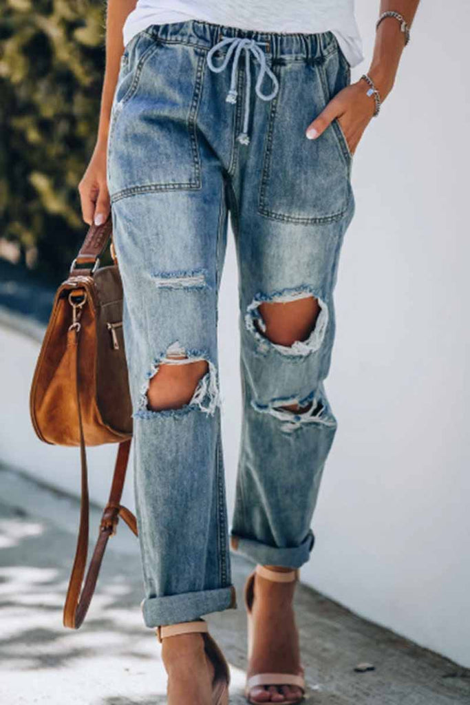Florcoo Cotton Pocketed Denim Bottoms