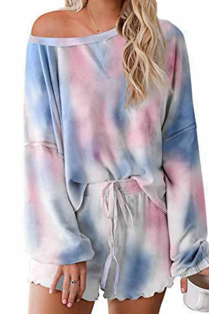 Florcoo Tie-dye Round Neck Print Casual Suit