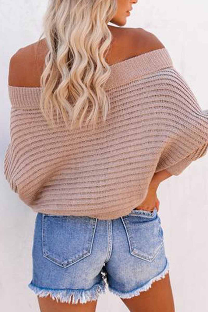 Florcoo Sexy Striped Off-shoulder Sweater