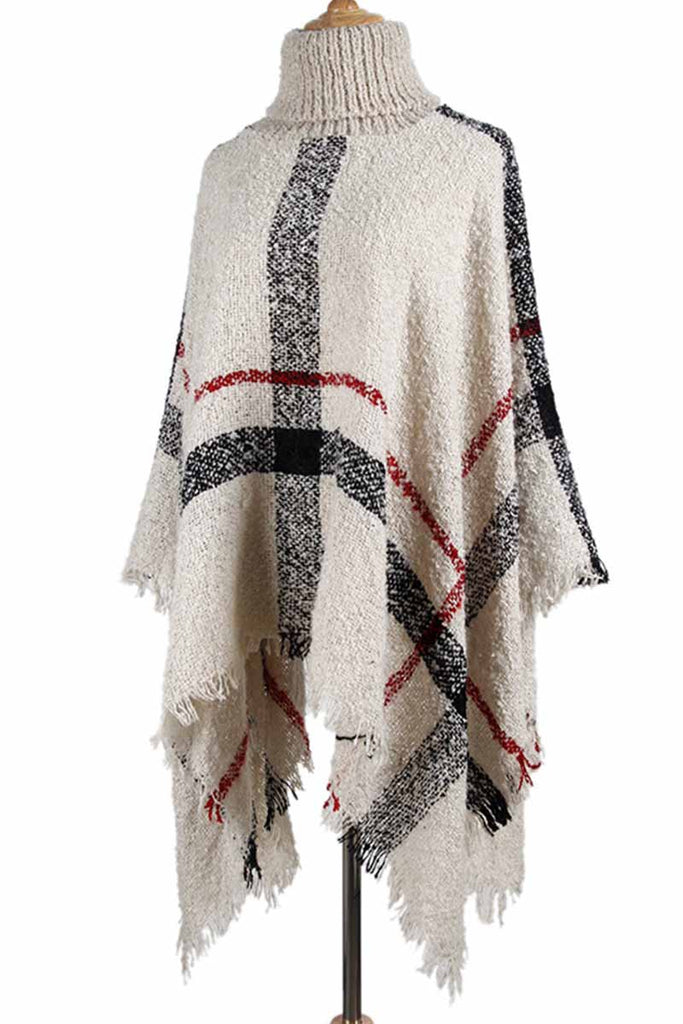 Florcoo Knitted Contrast Tassel Cloak