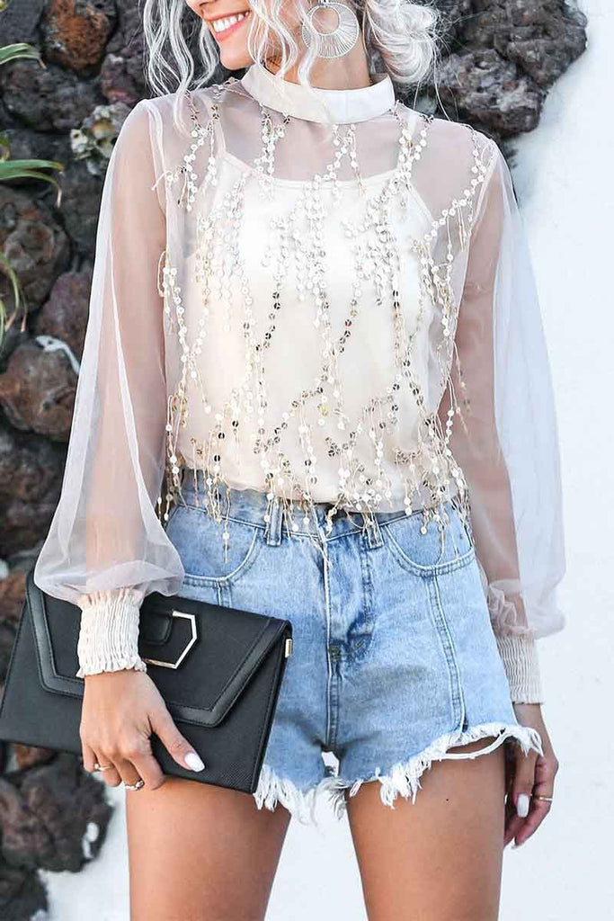 Florcoo Sequin Lace top