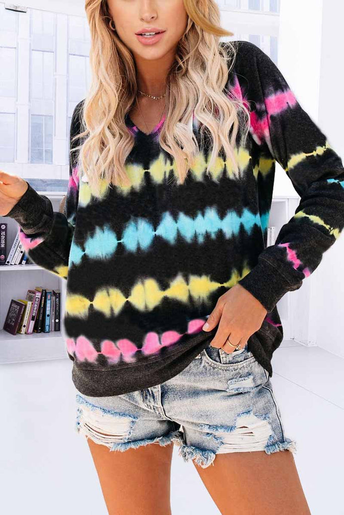 Florcoo Color Striped Print Casual Hoodie