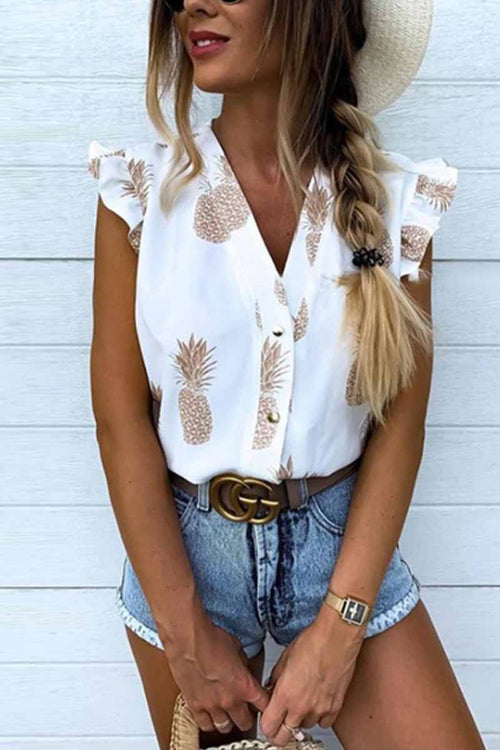 Florcoo V-neck Ruffled Cute Shirt