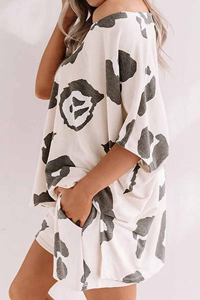 Florcoo Two-Piece Home v-Neck Loose Pattern Printing