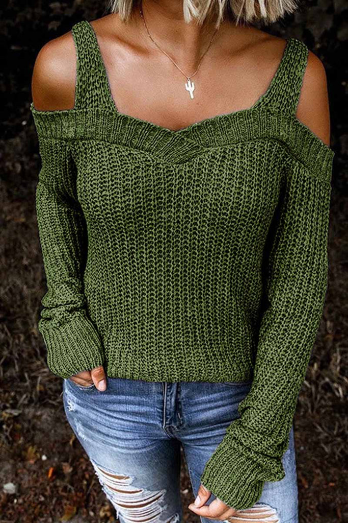 Florcoo Dew Shoulder Strapless Casual Fashion Sweater(5 colors)
