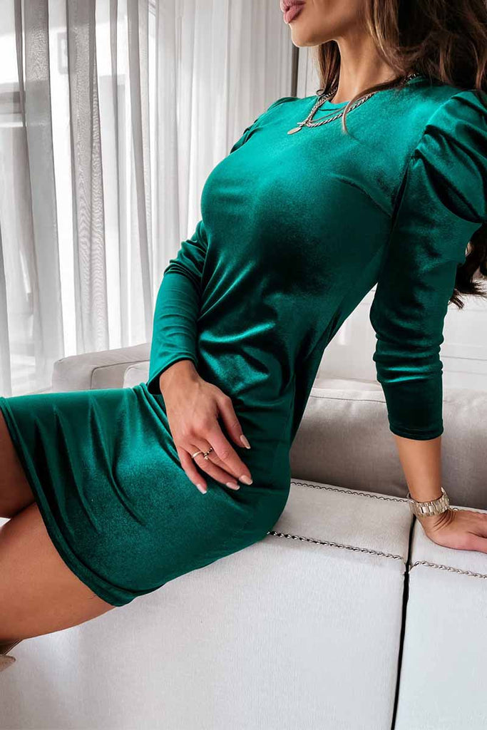 Florcoo Solid Color Foam Long Sleeve Mini Dress
