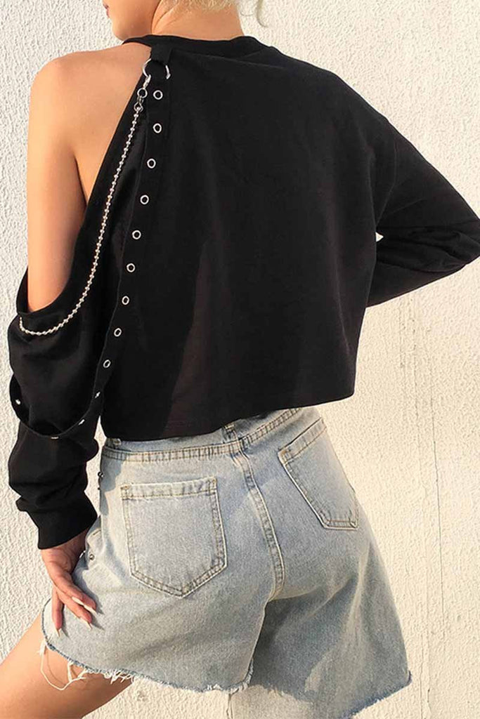 Florcoo Long-sleeve Loose Off-shoulder T-shirt