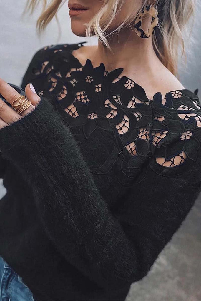 Florcoo Lace Patchwork Black Sweater