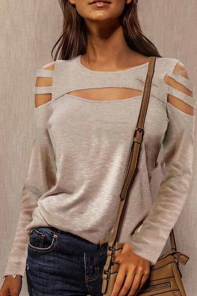 Florcoo Solid Cold Shoulder Long Sleeves Casual Tops