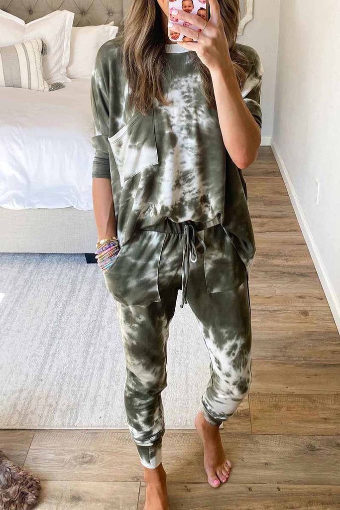 Florcoo Dark Tie Dye Comfortable Casual Set