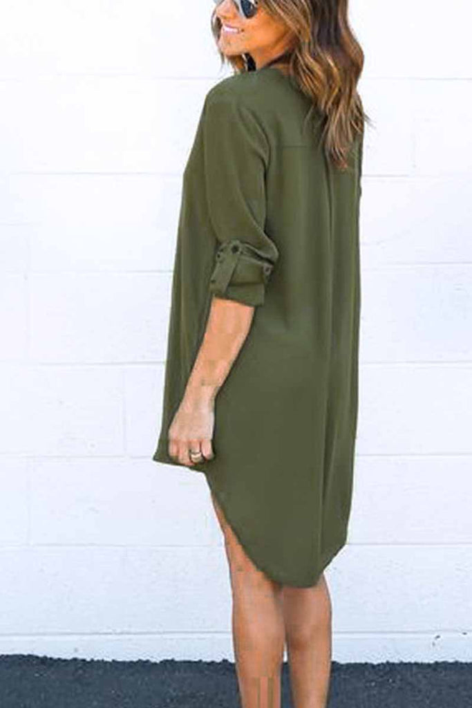 Florcoo Fall Long Sleeve V-Neck Mini Dress