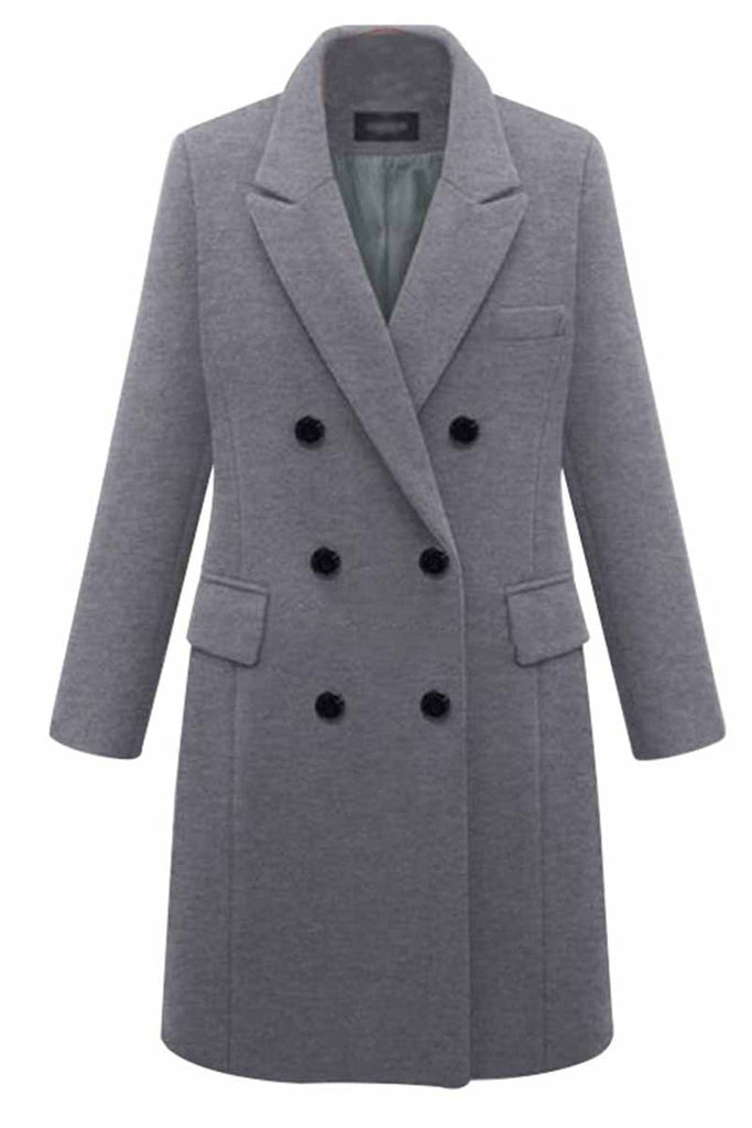 Florcoo Thick Solid Color Button Coat