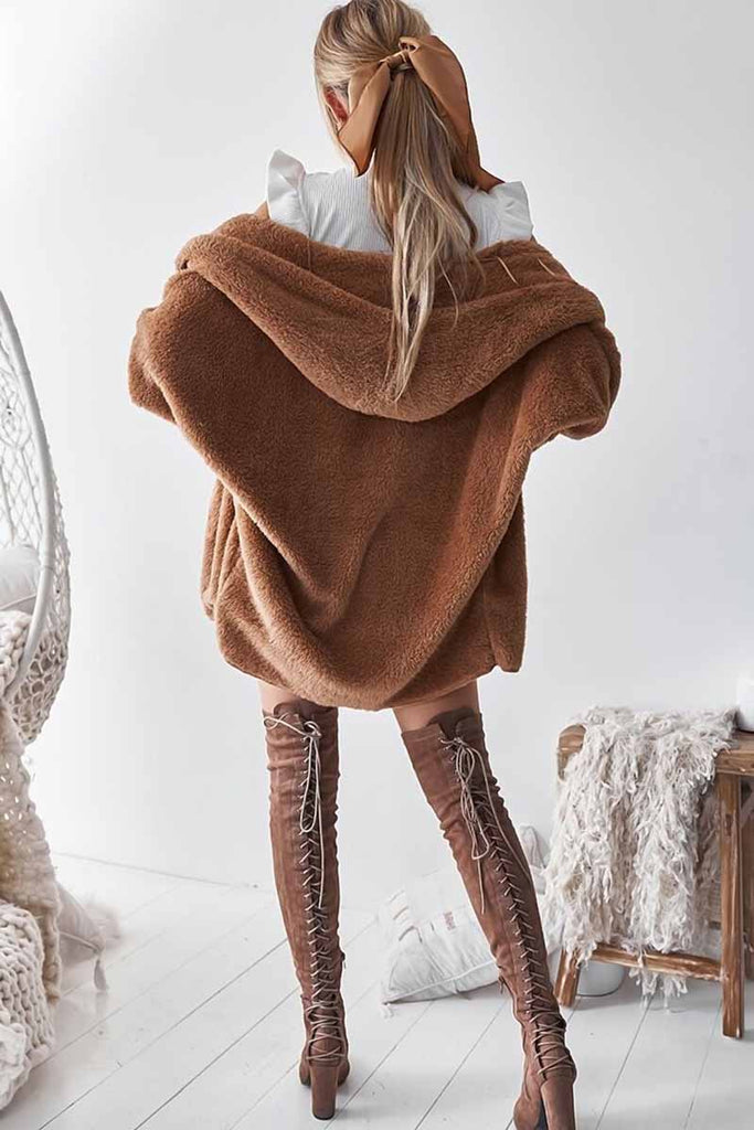 Florcoo Plush Hooded Solid Color Coat