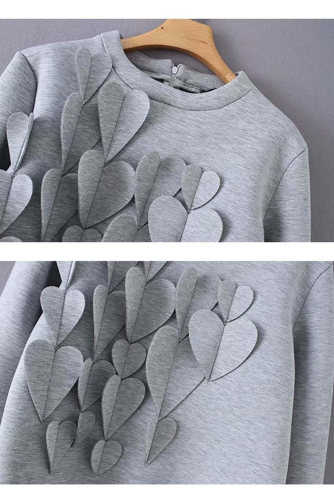 Florcoo Heart Decoration Zipper Long Sleeve Hoodie Tops