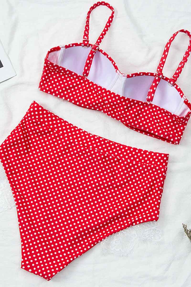 Florcoo High Waist Polka Dot  Red Swimsuit