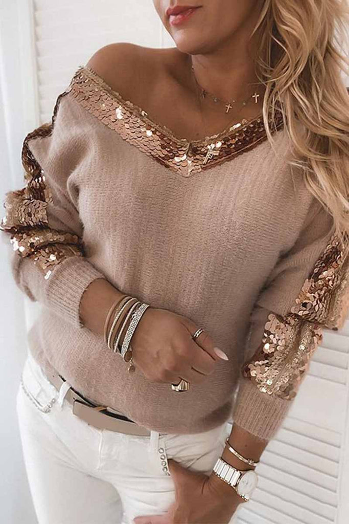 Florcoo Solid Color V-Neck Sequined Long Sleeves Tops