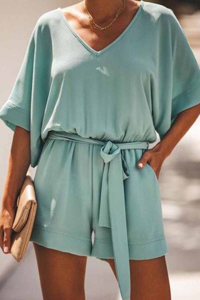 Florcoo solid short sleeve tops Rompers