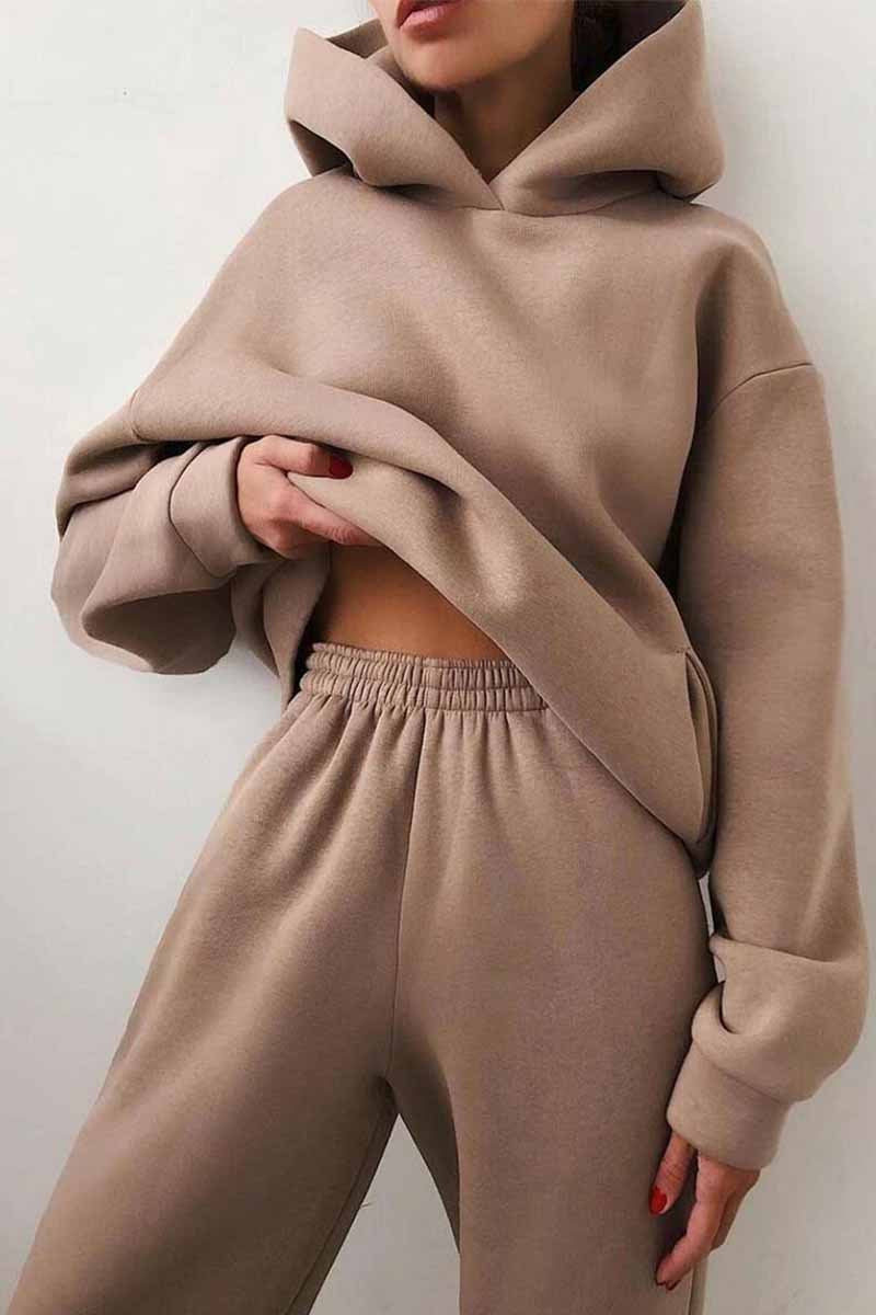 Florcoo Two-Piece Solid Color Casual Hooded Sweater