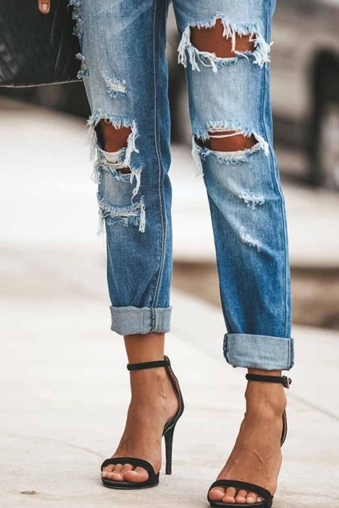Florcoo Regular Blue Ripped Jeans