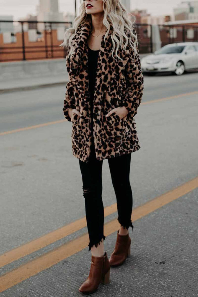 Florcoo Women's Lapel Leopard Coat