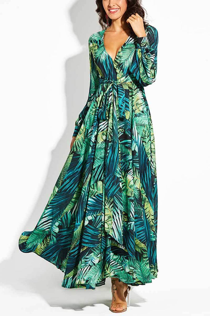Florcoo V-Neck Leaf Print Maxi Dress