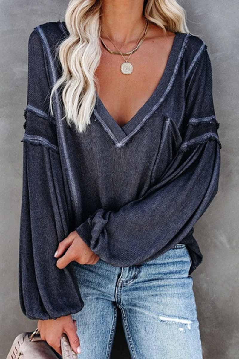 Florcoo Solid Color Pullover V-Neck Bubble Long Sleeves Tops